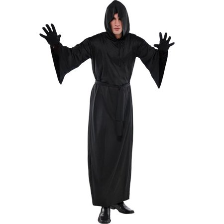 Hooded Adult Long Black Horror Robe Grim Reaper Scream](Female Grim Reaper Costume)
