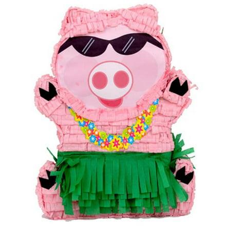 Hawaiian Luau Pig Pinata, Pink & Green, 14in x 19.5in](Luau Pig)