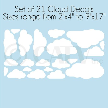 Decal Sticker Set (Clouds set of 21 Wall Pattern Self Adhesive Decal Stickers (Vinyl,)
