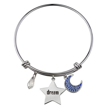 Sterling Silver Plate Blue Crystal Moon/Dream/Clear Crystal Drop Bangle