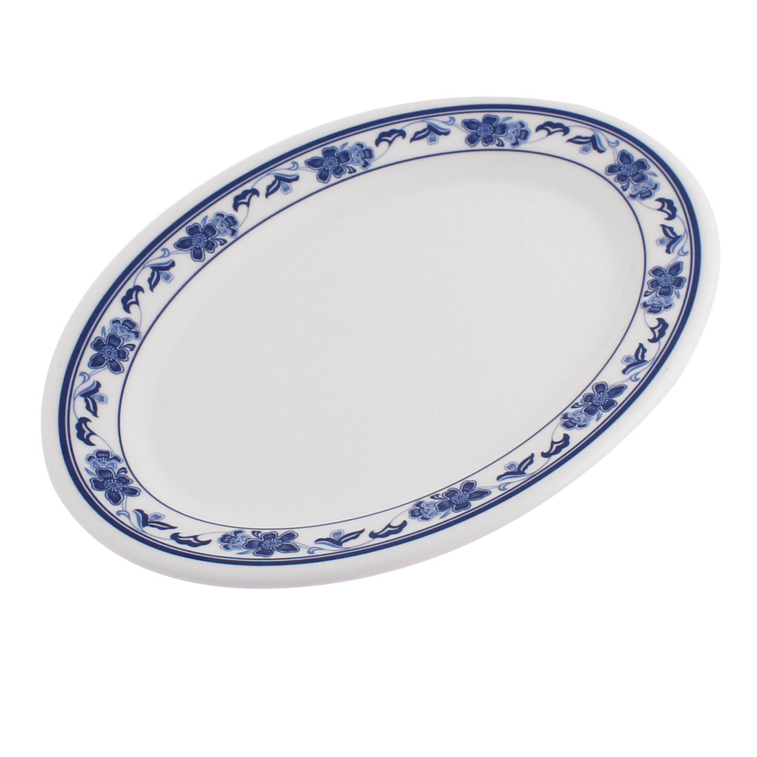 Unique Bargains Plastic Oval Shaped Flower Printed Food Snack Dessert Dish Plate White... by Unique-Bargains