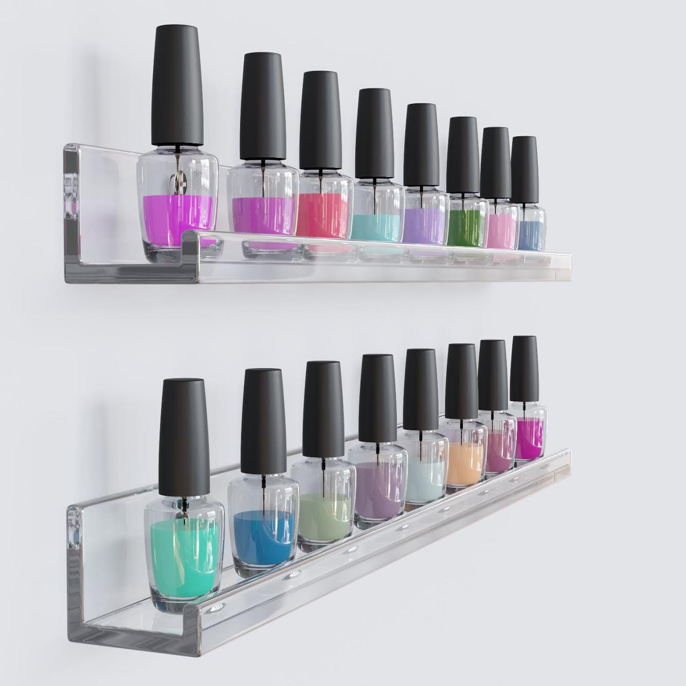 invisible floating wall shelf clear acrylic photo ledge display bookshelf nail polish rack 17 inch set