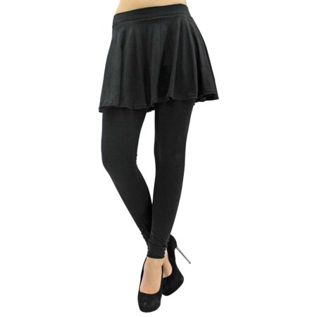 Stretchy Flared Skirt Leggings - Skirts Leggings