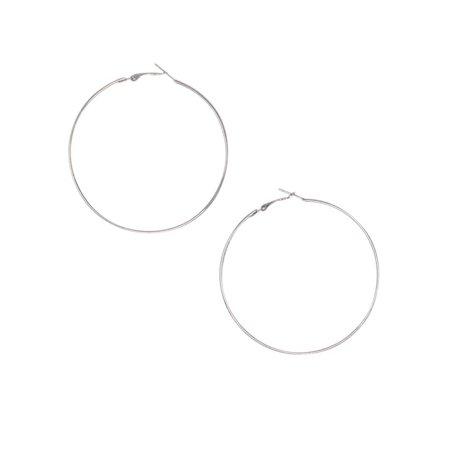 Oversized Classic Silver Metal Hoop Earrings