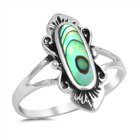 Simulated Abalone Long Oval Flower Ring .925 Sterling Silver Band Size 10