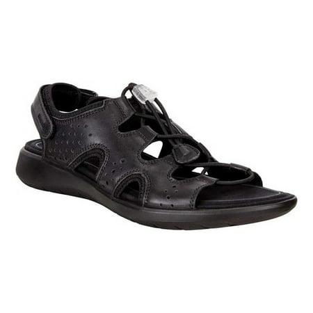 Women's ECCO Soft 5 Toggle Sandal Black Cow Leather/Cow Nubuck 38 M Black Leather Toggle