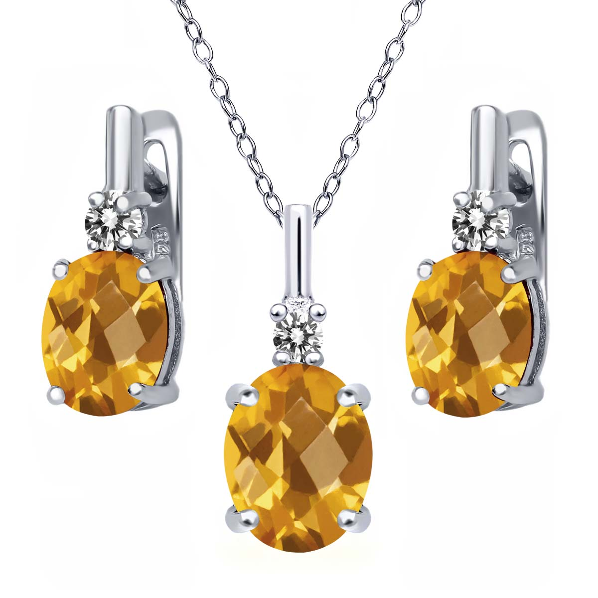 4.87 Ct Oval Checkerboard Yellow Citrine White Diamond 925 Silver Pendant Earrings Set by