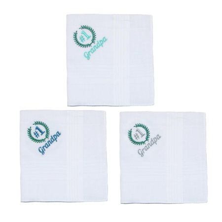 Parquet Men's Number 1 Grandpa Embroidered Cotton Handkerchief Set (Pack of 3) - image 1 of 4