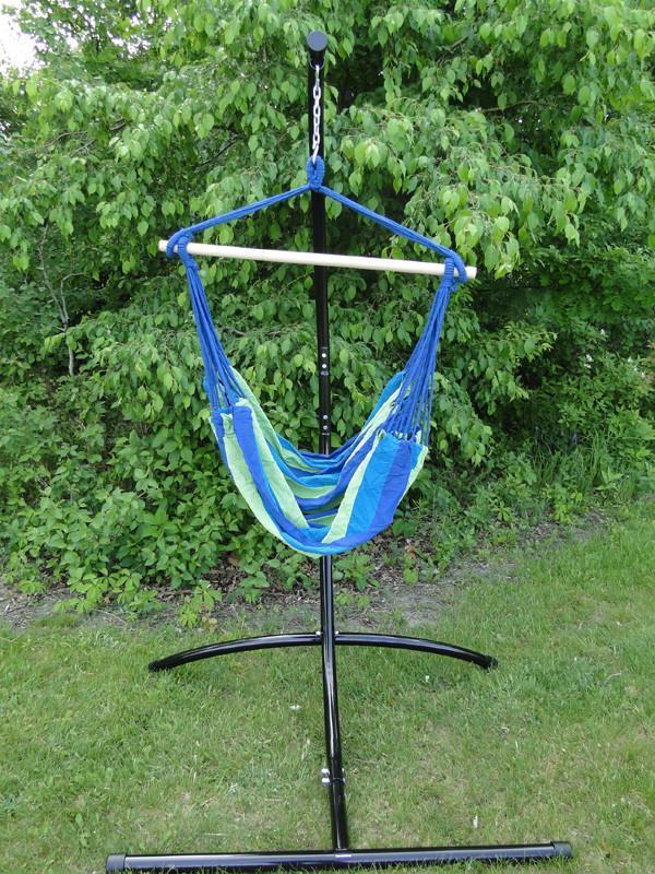 Brazilian Hammock Chair With Universal Chair Stand Blue Green