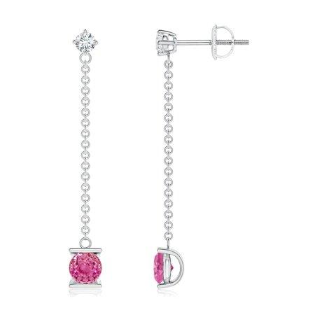 Chain Platinum Earrings - September Birthstone Earrings - Yard Chain Diamond and Pink Sapphire Drop Earrings in 14K White Gold (4mm Pink Sapphire) - SE1092PSD-WG-AAA-4