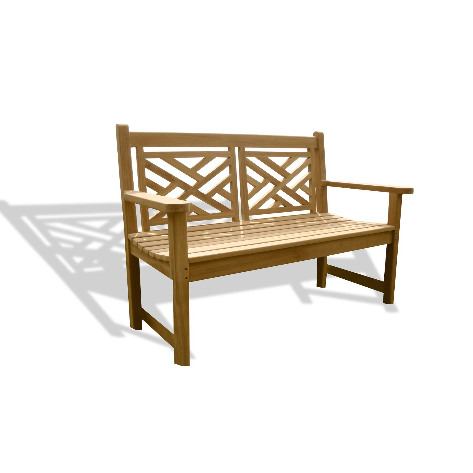 Windsor Teak Furniture Chippendale Classic Teak Outdoor Bench with Contoured Seat by Windsor Teak Furniture