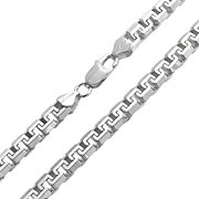 Heavy Solid Franco Square Chain Necklace Link For Men Greek Key .025 Gauge For Men 925 Sterling Silver Made Italy 20 In