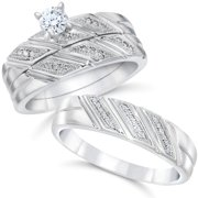 13ct his hers diamond trio engagement wedding ring set 10k white gold - Wedding Ring Trio Sets