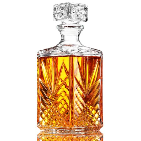 ShopoKus Glass Whiskey Decanter - Italian Crafted Elegant liquor Decanter with Airtight Geometric Stopper, Bar Decanter for Wine, Bourbon, Brandy, Liquor, Juice, Vodka, Tequila, ETC. | 33.75 oz