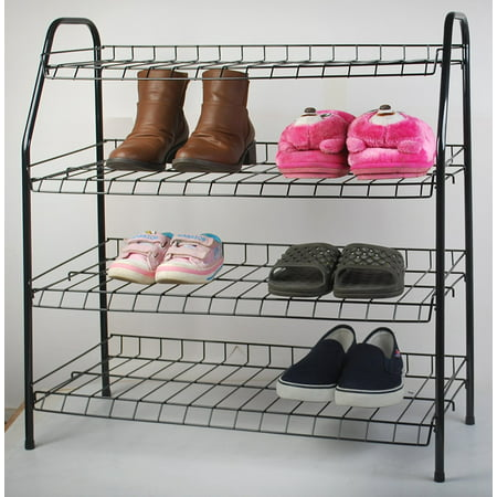 All For You 4 Tier Shoe Rack Show Organizers Space Saving Shoe Tower Storage Cabinet - Composite Utility Shoe Racks (black)