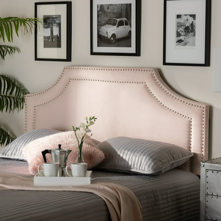 Baxton Studio Avignon Modern and Contemporary Light Pink Velvet Fabric Upholstered King Size Headboard