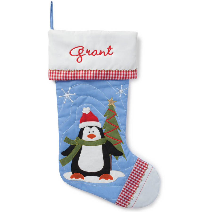 Personalized Quilted Christmas Stocking, Choose from 4 Characters