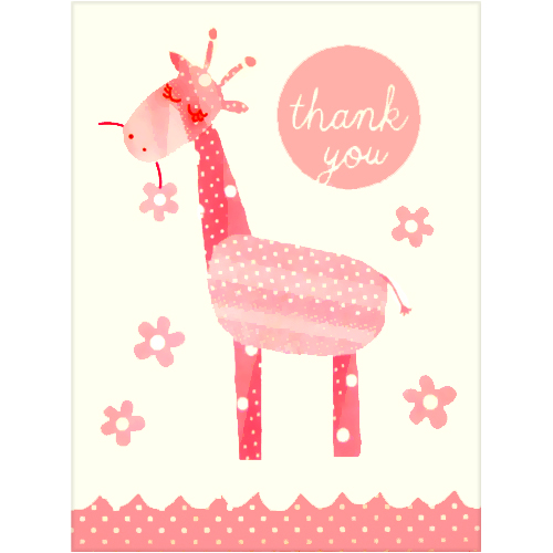 Baby Shower Pink Giraffe Thank You Notes w/ Envelopes (12ct)