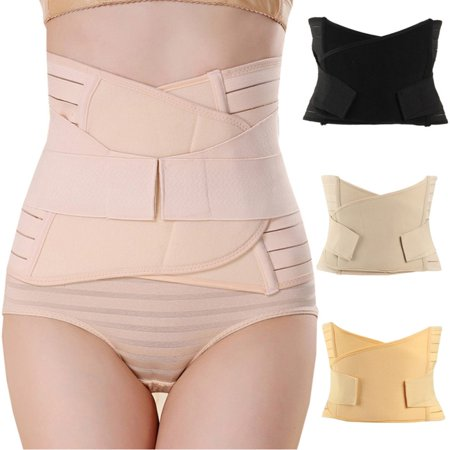 3 in 1 Women and Maternity Breathable Elastic Postpartum Support Recover Belt Sharper Support Girdle Belt Post Pregnancy Belly Waist Slimming Shaper Wrapper Band Abdomen Abdominal Binder
