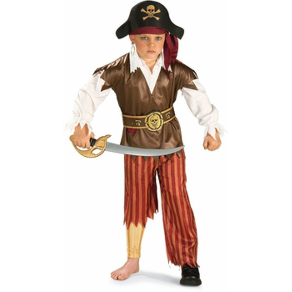 Child's Peg Leg Pirate Costume~Large 12-14   Brown by