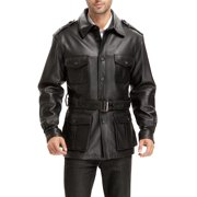 """BGSD Men's """"Charles"""" Military Style Lambskin Leather Trench Coat"""