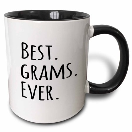 3dRose Best Grams Ever - Gifts for Grandmothers - Grandma nicknames - black text - family gifts - Two Tone Black Mug,