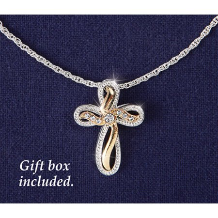 Two Tone Patterned Cross (Collections Etc Women's Two Tone Cross Jewelry Necklace Pendant, Grey)