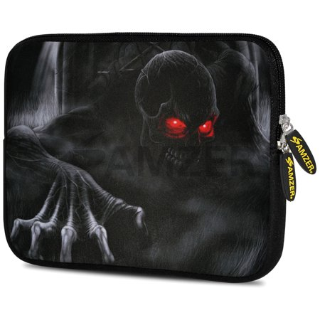 Universal 7.75 Inch Soft Neoprene Sleeve Case Pouch for Tablet, eBook, Kindle - Red Skull Eyes