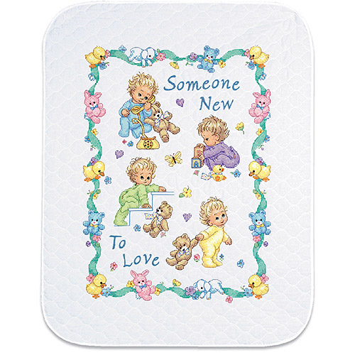"Dimensions Baby Hugs ""Someone New"" Quilt Stamped Cross Stitch Kit, 34"" x 43"""