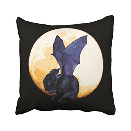 WinHome Vintage Abstract Black Bat Bunny Moon Halloween Polyester 18 x 18 Inch Square Throw Pillow Covers With Hidden Zipper Home Sofa Cushion Decorative Pillowcases - Abstract Halloween