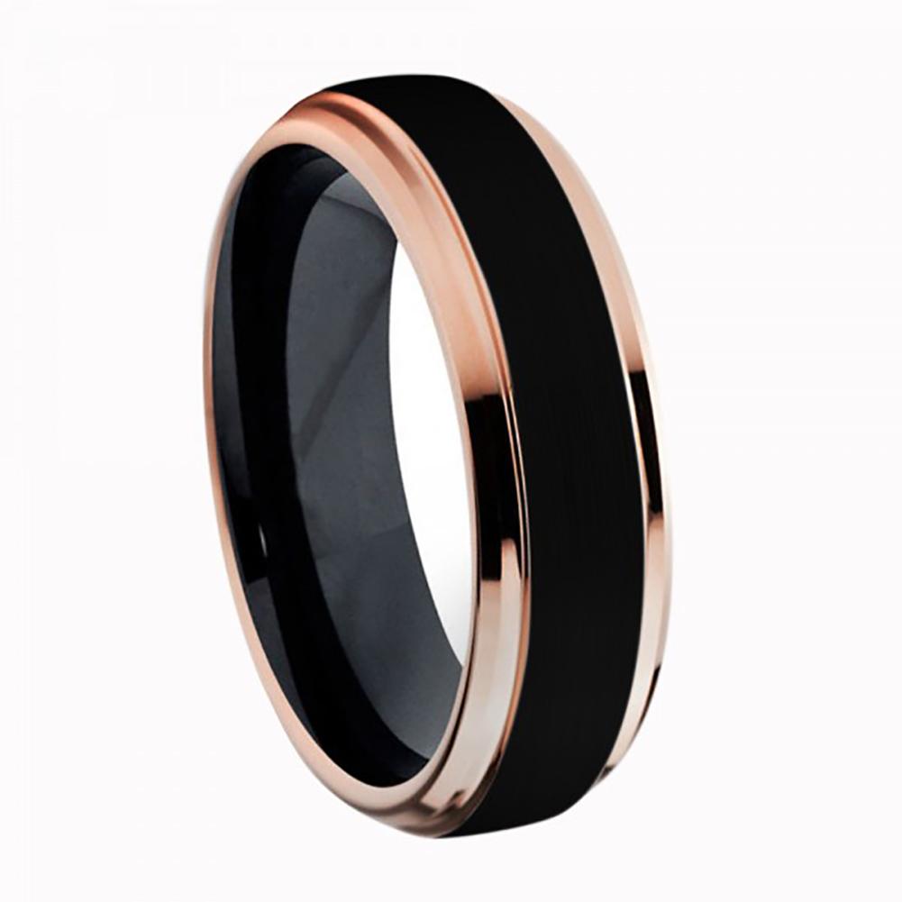 6mm Two-Tone Black IP & Rose Gold IP Brushed Center Step Edge Titanium Ring Wedding Band Ring For Men Or Ladies