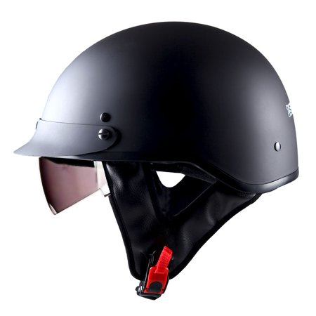 1STorm Motorcycle Half Face Helmet Mopeds Scooter Pilot with retratable Inner Smoked Visor, Matt