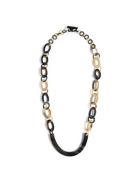 945607832 Product Image Earth Tone Brown Handmade Natural Statement Boho Fashion  Buffalo Horn Oval Chain Link Necklace For Women