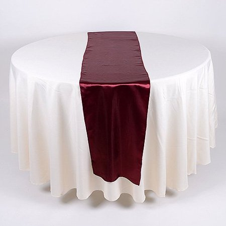 Satin table runner 14 inch x 108 inches burgundy for Table runners 52 inches
