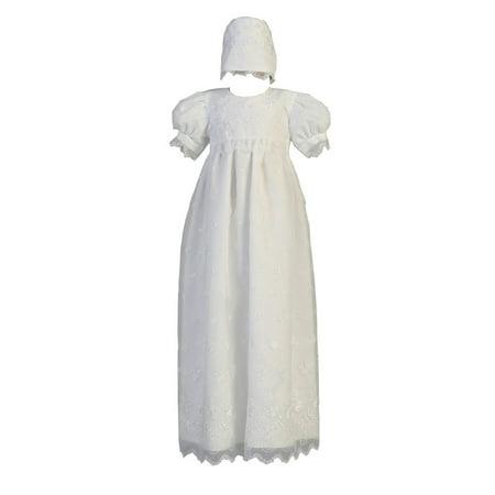 Baby Girls White Embroidered Organza Bonnet Long Christening Dress