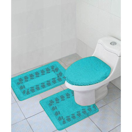 Buy 3 Pc 5 Turquoise Embroidery Design Bathroom Bath Mat Set Includes 1 Contour Lid Toilet Cover Ultra Absorbent With Anti Slip Backings Online In Kuwait 180919335