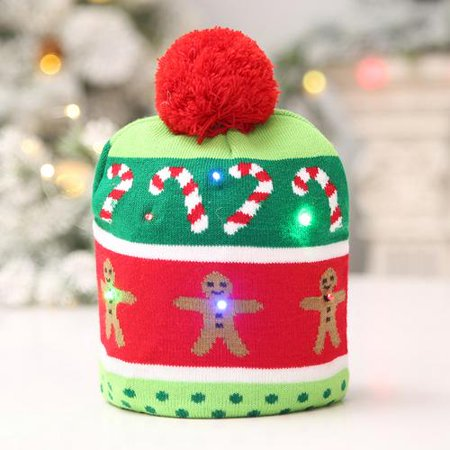 LED Knitted Christmas Hat Warm Protective Cap Computer Decoration Xmas Cap