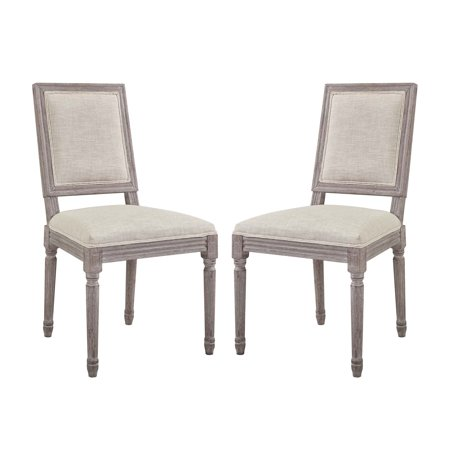Industrial Country Cottage Farm Beach House Dining Kitchen Room Side Chair, Set of Two, Fabric Wood, Beige ()