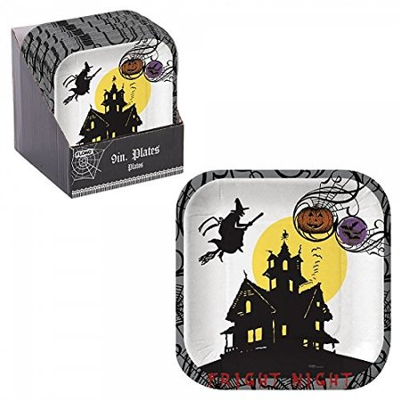 FLOMO Halloween Haunted House Square Plates 2 Packs halloween dishes, halloween plates, halloween napkins and plates, hallowee