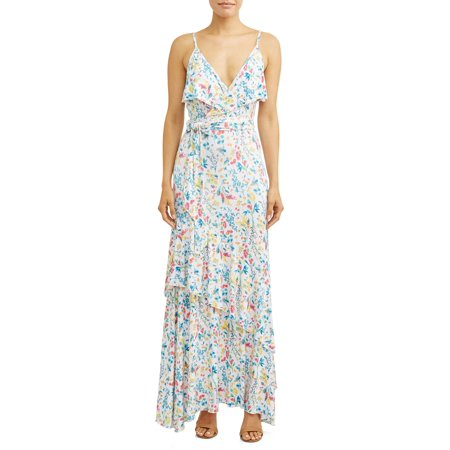 Faux Wrap Front Maxi Dress Women's (Floral - Faux Wrap Jersey Dress