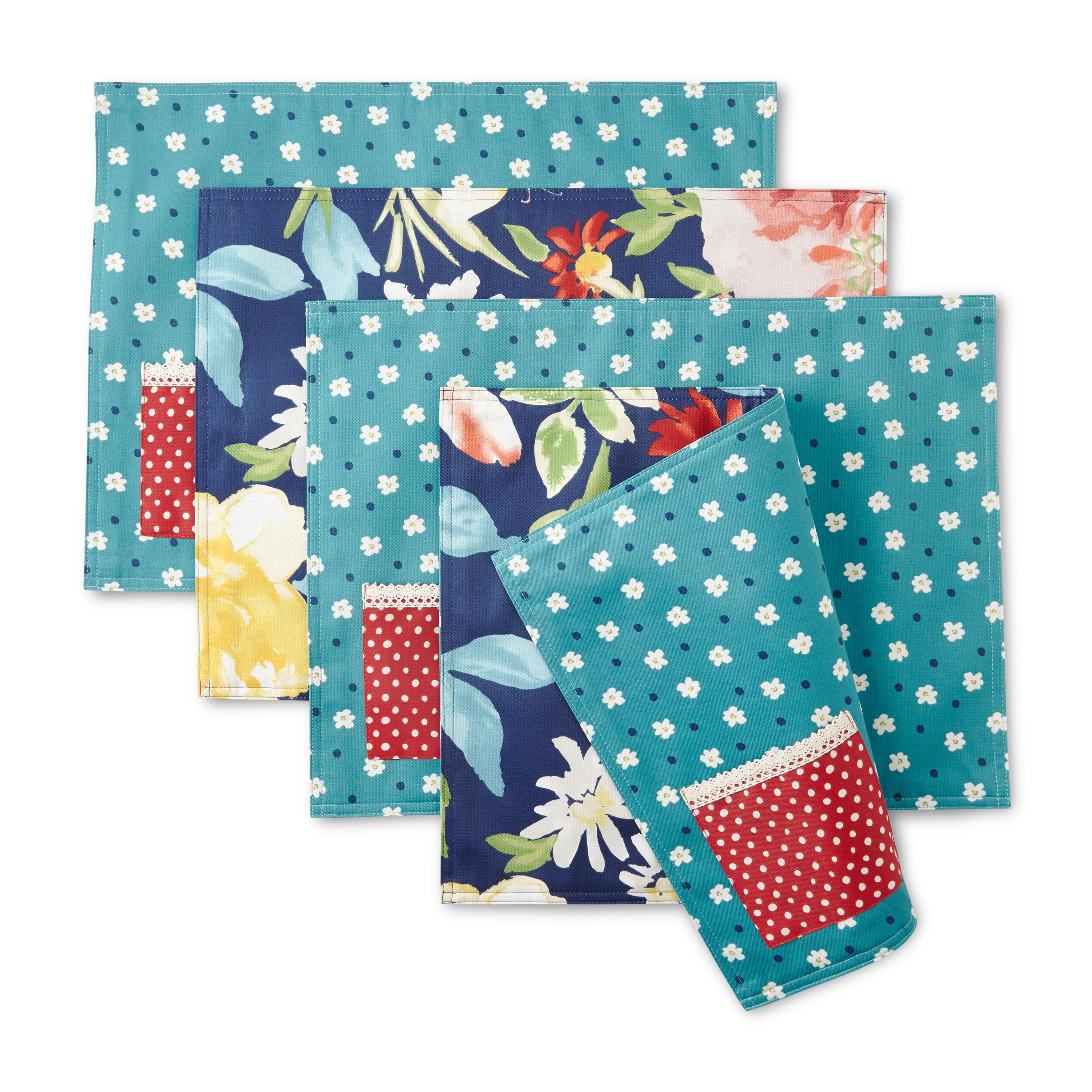 The Pioneer Woman Fiona Reversible Placemats, Set of 4, Multiple Counts