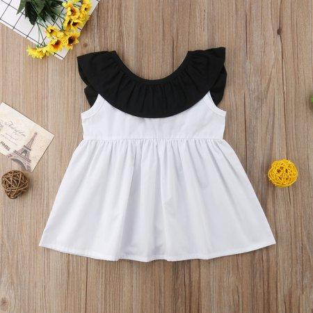 Pleated Bow - Kids Baby Girls Cute Ruffled Neckline Bow Tie Back Pleated Dress Princess Dress