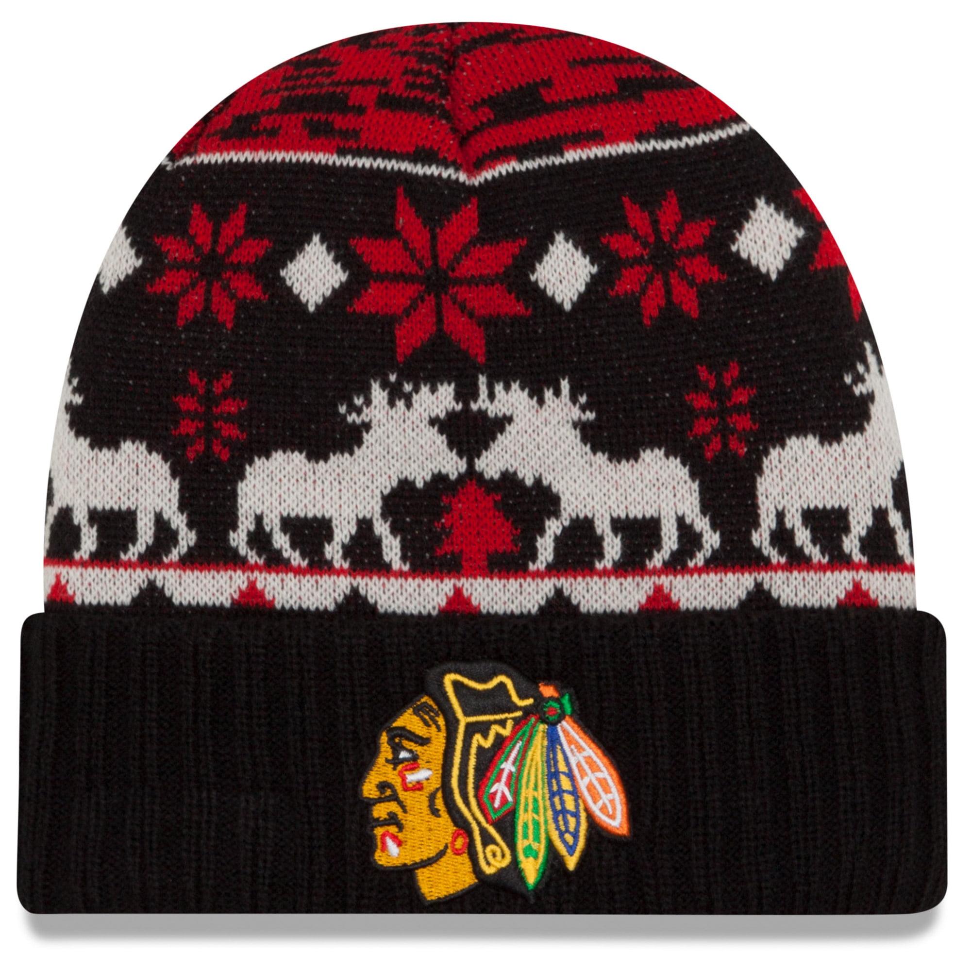 Chicago Blackhawks New Era Team Mooser Cuffed Knit Hat - Red - OSFA