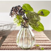 """Wire-Wrapped Glass Flower and Bud Vase - 6""""Hx4.5""""W - Floral Home Accent Decor"""