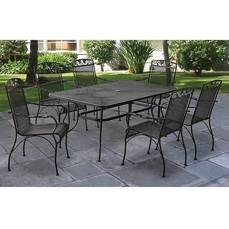 Mainstays jefferson wrought iron 7 piece patio dining set for Rod iron patio furniture
