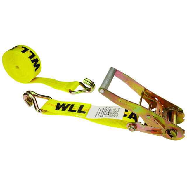 "2"" x 18' Yellow Ratchet Strap w/ Double J Hook"