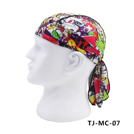 Stylish Printing Pirate Headpiece Sun Protection Scarf Sports Cap for Men Women Color:7# (Pirate Scarf)