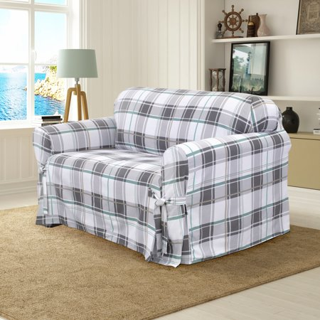 Serta 100% Cotton Duck Relaxed-Fit Furniture Slipcovers, Box Cushion and T-Cushion, Sofa Slipcover, Loveseat Slipcover, Chair Slipcover, Rectangular or Round Ottoman Slipcover ()
