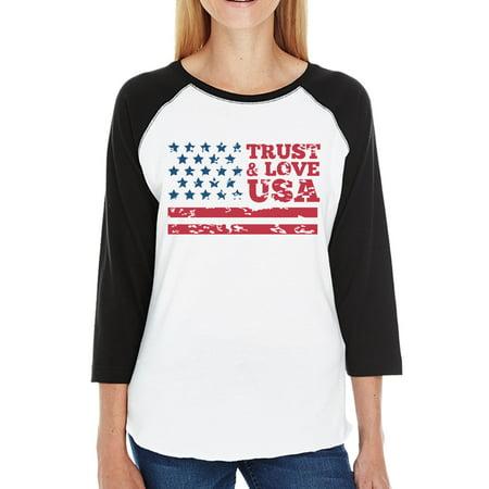 Trust   Love Usa Womens Black Raglan T Shirt 3 4 Sleeve Round Neck
