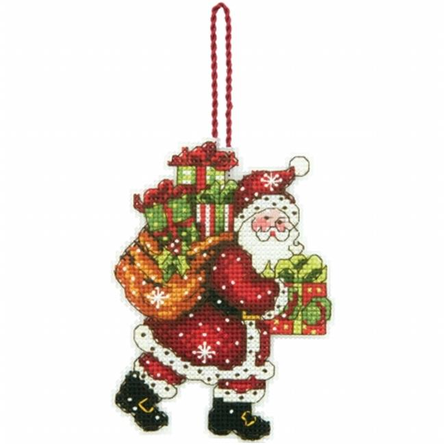 Susan Winget Santa with Bag Ornament Counted Cross Stitch Kit-3.5 in. x 4.75 in. 14 Count Plastic Canvas
